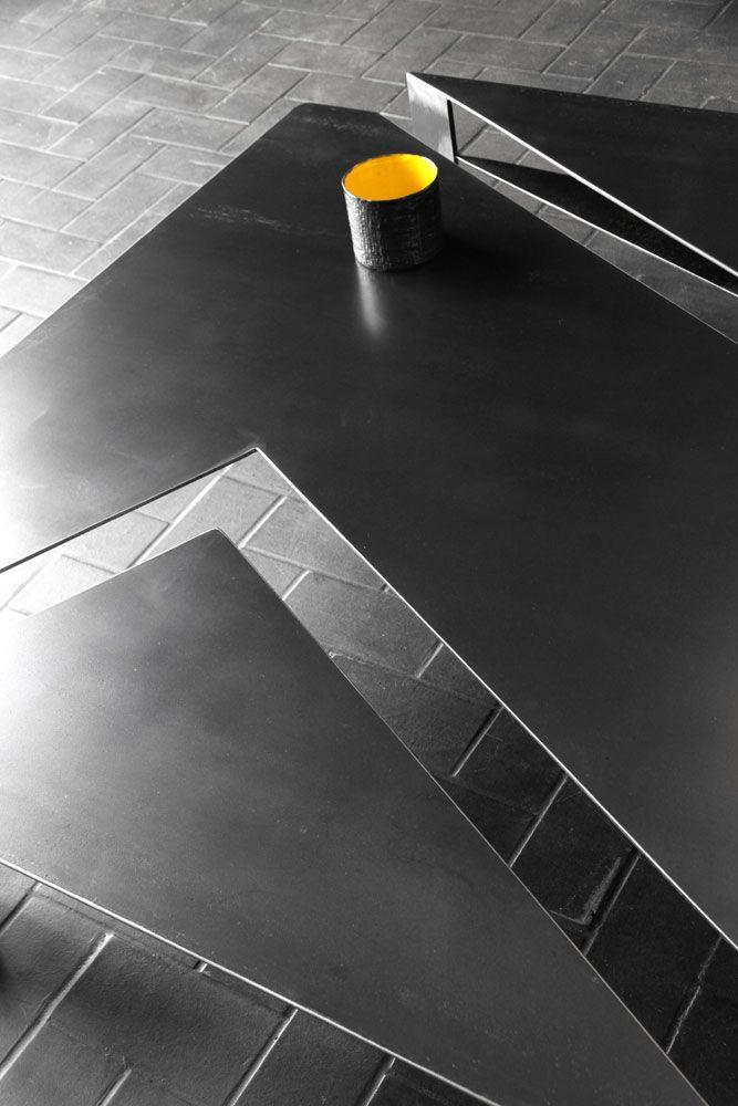table basse sur mesure acier