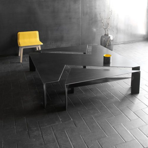 table basse acier sur mesure