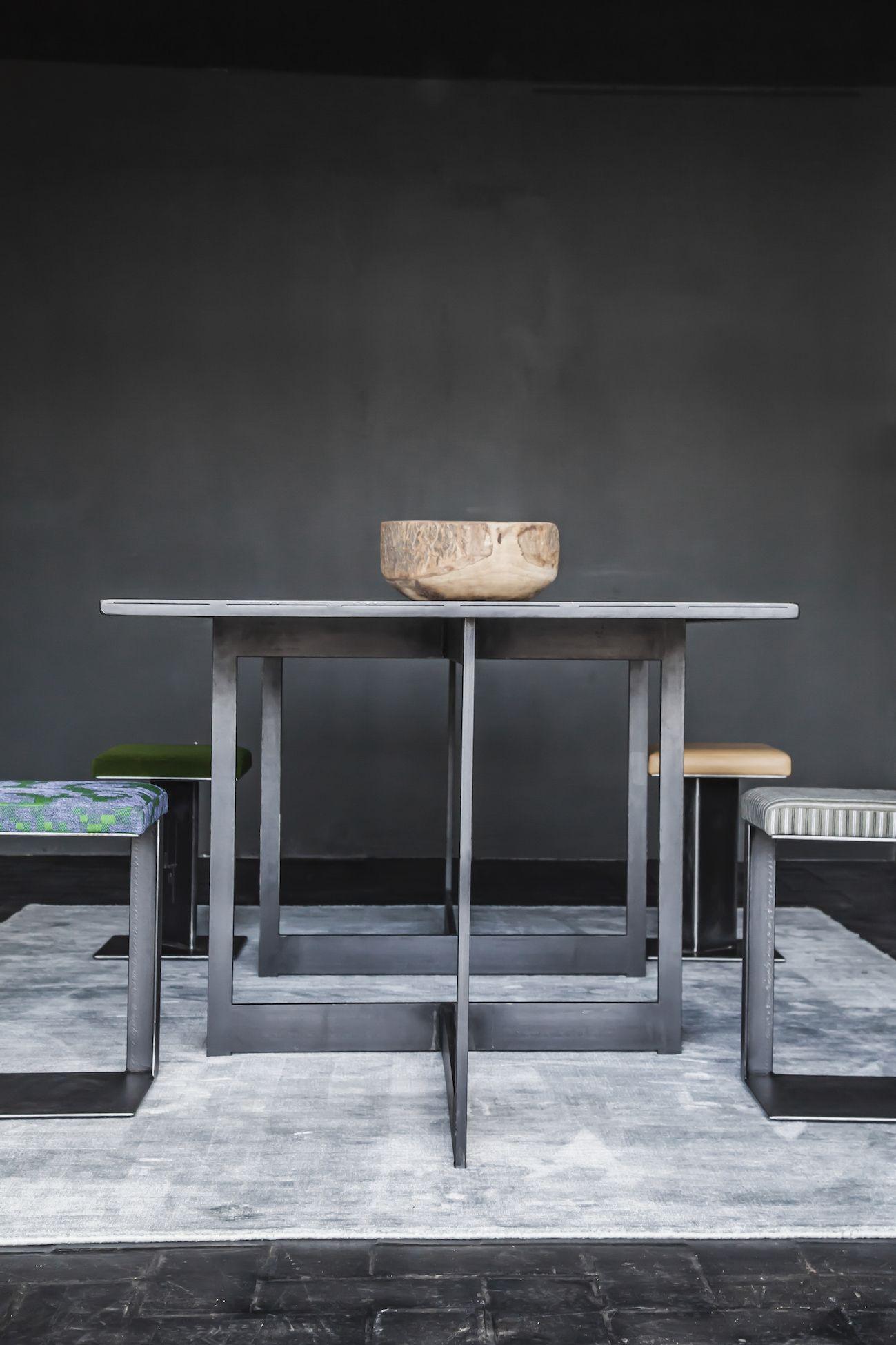 bois et metal table
